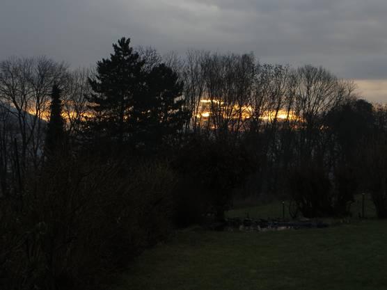 Ja, so ist die Landschaft bei uns an einem Morgen. Dort, wo es das Licht hat, das ist Liestal. Dies jedoch vom Rüttmattweg von Frenkendorf aus gesehen