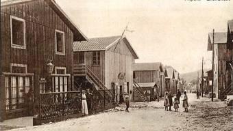 Blick ins Barackendorf Tripoli im Gebiet der Alpenstrasse. Archiv