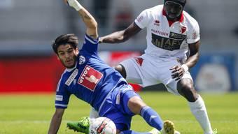 Zweikampf in Sitten zwischen Luzerns Francisco Rodriguez (links) und Pa Modou