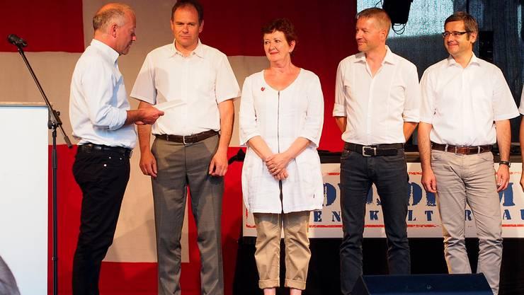 Der Stadtrat von Olten: Martin Wey, Peter Schafer, Iris Schelbert-Widmer, Thomas Marbet und Benvenuto Savoldelli.