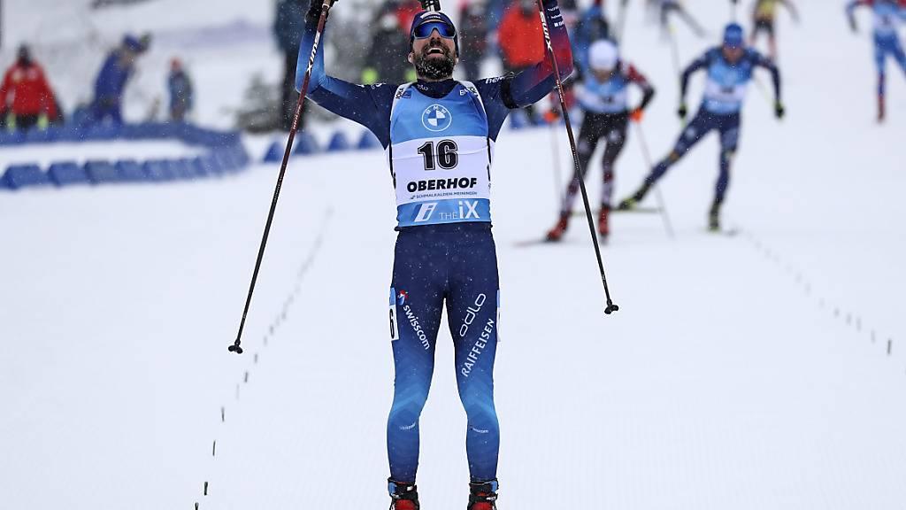 Ein 3. Rang wie ein Sieg: Benjamin Weger jubelt beim Zieleinlauf.