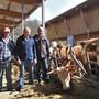Alois Kohler mit den Söhnen Patrick (l.) und Simon (r.) im Kuhstall des neuen Bio-Betriebs am Rande von Sulz.
