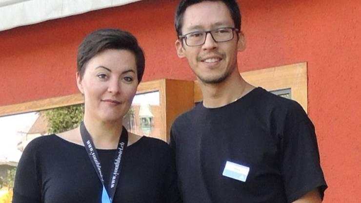 Dennis Kaufmann und Anja Gühlcke, Leiter der Jugendherberge Baden