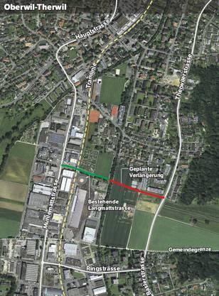 Um von der östlichen Talachse (Therwilerstrasse-Baslerstrasse) zur westlichen (Mühlemattstrasse-Hauptstrasse) zu gelangen, muss man jetzt durch dicht bebautes Gebiet und über die Tramline fahren. Mit der Verlängerung der Langmattstrasse möchte der Kanton einen kreuzungsfreien Übergang schaffen.