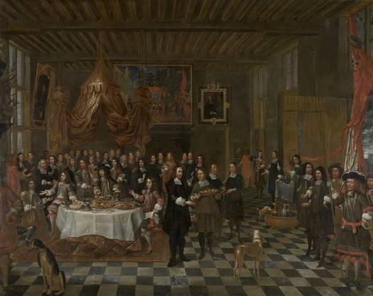 Empfang für König Charles II. und seine Brüder durch die Sankt-Barbara-Gilde in Brügge. Gemälde von Jan Baptist van Meunincxhove
