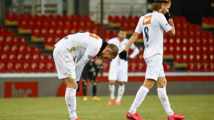 Enttäuschte Aarauer nach der unnötigen Niederlage gegen die Grasshoppers.