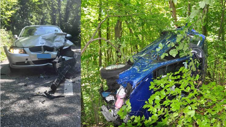 Der graue BMW und der blaue Renault prallten zusammen