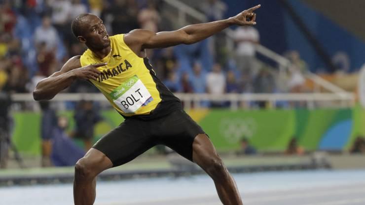 Usain Bolt in seiner Lieblingspose.