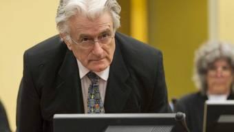 Radovan Karadzic im Gericht in Den Haag