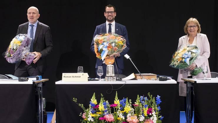 Mit 163 Stimmen erzielte der 35-jährige Roman Schmid (SVP) (im Bild in der Mitte) ein sehr gutes Resultat.