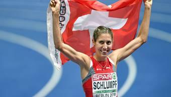 Fabienne Schlumpf, als sie noch lief - zu EM-Silber in Berlin. (Bild:Walter Bieri/Keystone; Berlin, 12. August 2018)