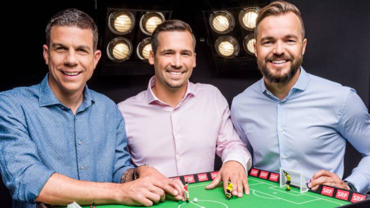 Die neuen Experten Berner, Renggli und Jehle (links) am Tippkick.