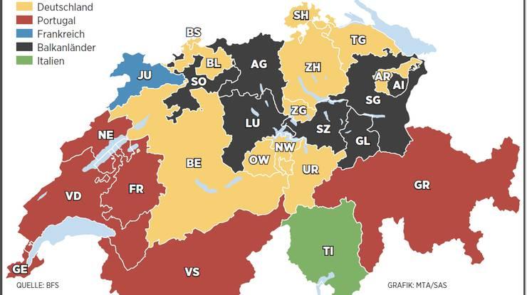 Grösste Ausländergruppen nach Kanton