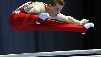 Hier gewann Lucas Fischer an der EM 2013 in Moskau Silber am Barren.