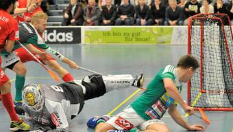 Hier kam nochmals Hoffnung auf: Topskorer Manninen stochert den Ball zum 3:4  über die Linie.