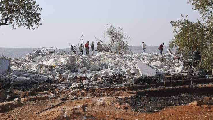 Die Überreste der Häusergruppe, in denen Baghdadi zuletzt Zuflucht fand.
