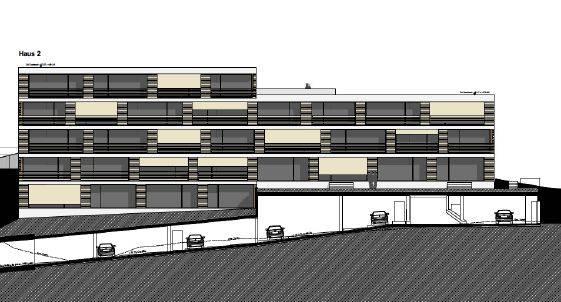 Blick von vorne auf Haus 1 und Haus 2 mit darunterliegenden Zufahrt zur Tiefgarage