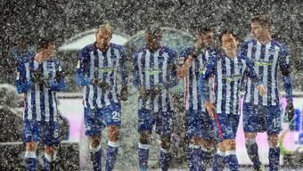 Hertha Berlin liess sich auch vom Schneegestöber im Olympiastadion nicht stoppen und gewann gegen Hoffenhein 1:0