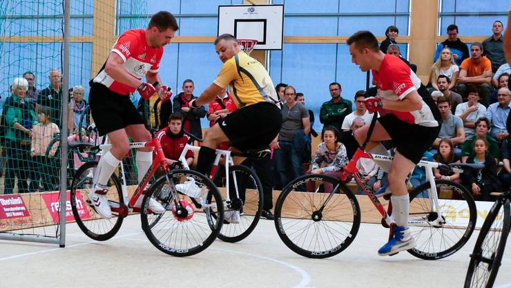 Das Liestaler Radballteam am Final 2017 im Einsatz