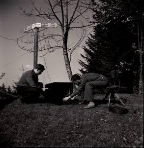 Fernsehen auf dem Bantiger, 1952. Foto: Staatsarchiv Aargau.