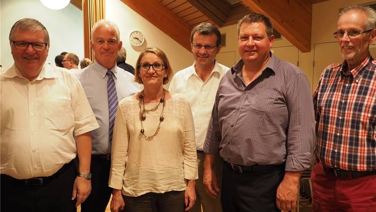 Hansueli Bühler mit dem neuen Vorstand: Christian Fricker, Sibylle Lüthi, Franco Mazzi und Robert Schmid sowie der abtretende Stefan Bühler (v.l.). HCW