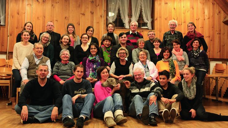 """Das Ensemble der Produktion von """"Der Besuch der alten Dame"""" beim Kick-off Event im Januar 2015."""