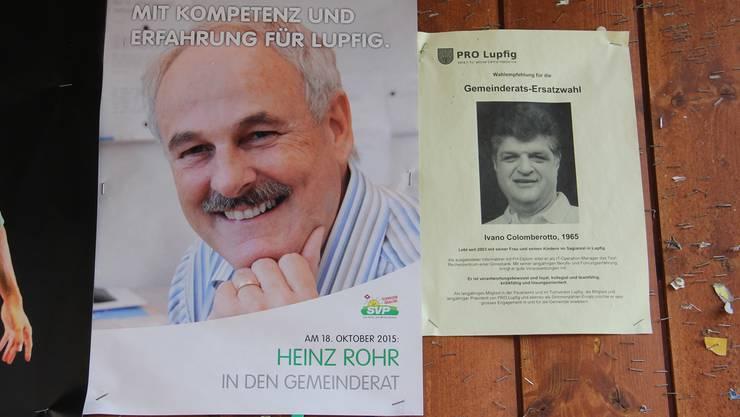 Heinz Rohr und Ivano Colomberotto kandidieren in Lupfig für den freien Sitz von CVP-Gemeinderat Antonino Vecchio.