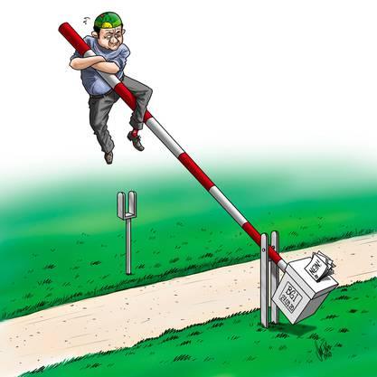 Die Karikatur von Silvan Wegmann zur BGI-Abstimmung.