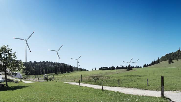So wird der Windpark auf dem Grenchenberg aussehen – Pro Grenchen ist dagegen.