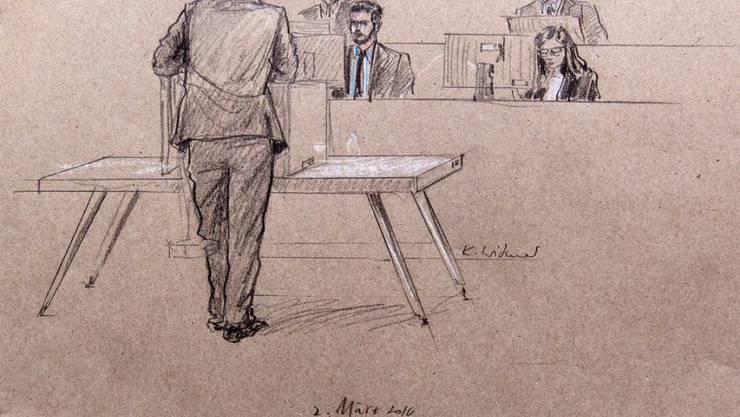 Der Verteidiger eines der vier Angeklagten während seines Plädoyers im IS-Prozess Anfang März vor dem Bundesstrafgericht in Bellinzona. (Symbolbild)