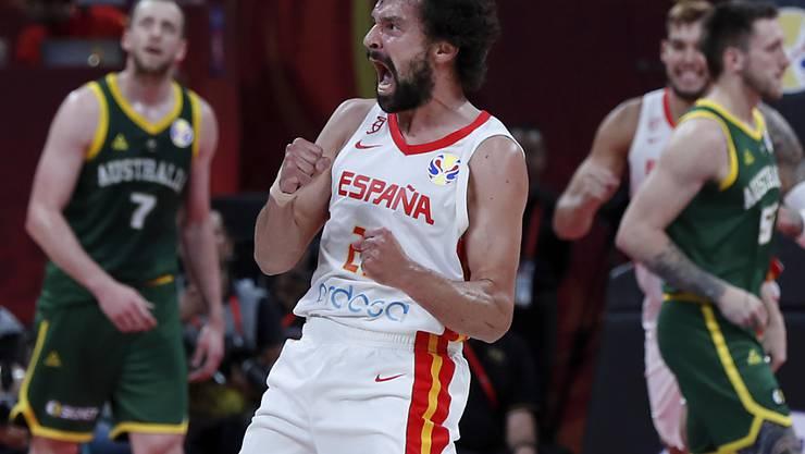 Am Ende jubelten im WM-Halbfinal nicht die Australier, sondern die Spanier (hier Sergio Llull)