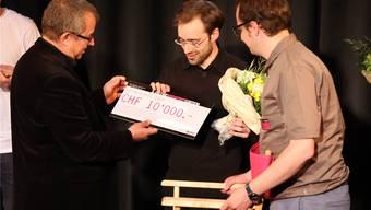 Von link Claude Schoch, Gewinner Jan Rutishauser und Rainer von Arx Hr. Aeschbacher