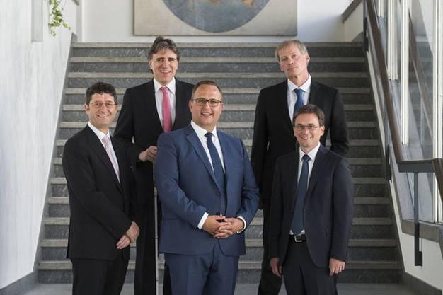 Paolo Beltraminelli (PPD), Manuele Bertoli (PS), Norman Gobbi (LEGA), Claudio Zali (LEGA) und Christian Vitta (PLRT)