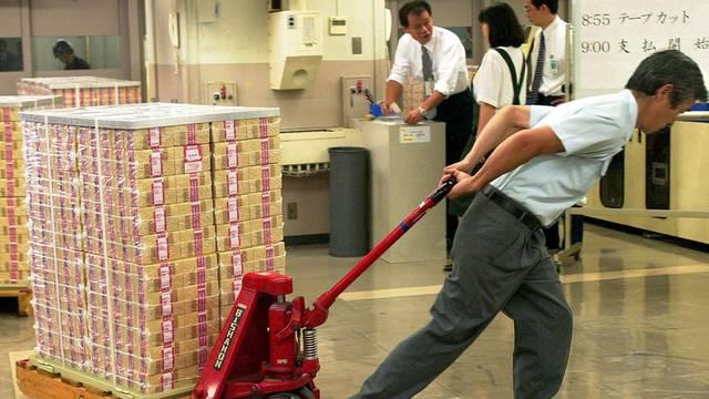 Japanische Banknoten frisch ab Presse: Der Yen befindet sich auf Höhenflug (Archiv)