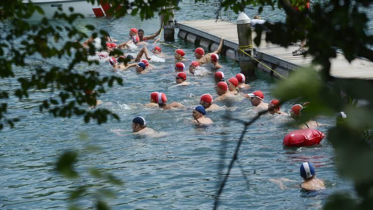 Am Aareschwimmen machen jeweils Hunderte mit.