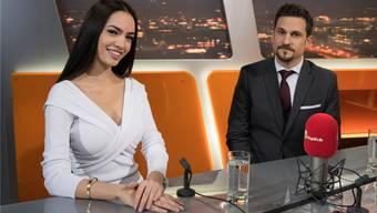 Jastina Doreen Riederer mit Anwalt Daniele Di Muccio im TeleZüri-Studio. Alex Spichale