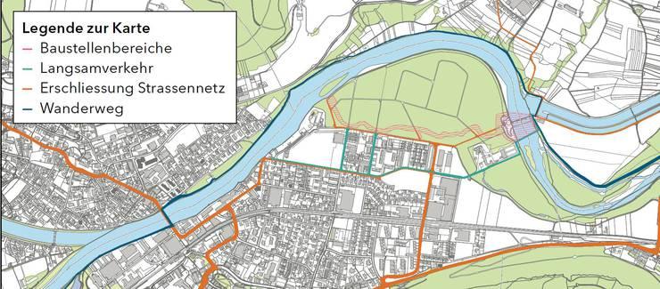 Der Situationsplan zeigt die Auswirkungen auf Schönenwerd infolge der Baustelle.