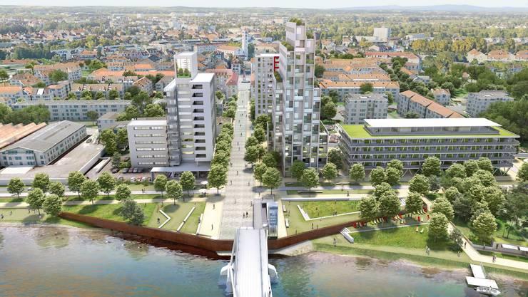Blick von der Dreiländerbrücke auf Huningue. Insgesamt sind sechs neue Gebäude geplant. Das Ufer wird grün.