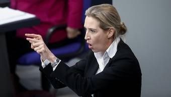 Die AfD-Abgeordnete Alice Weidel erntet für ihre Rede Pfiffe und eine Rüge. (Archiv)