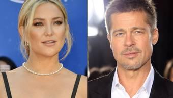 Ein Boulevard-Blatt hat Kate Hudson und Brad Pitt ein Techtelmechtel unterstellt: Pitt gehe sogar schon in den Häusern der Familie ein und aus. Hudsons Bruder reagierte darauf auf Instagram mit beissender Häme. (Archivbilder)