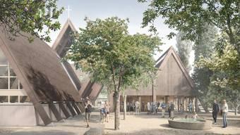 Attraktive Begegnungszone: Diese Visualisierung zeigt den Paulusplatz des Kirchenzentrums in Lupfig.