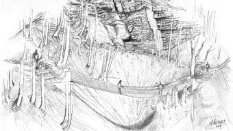 Die visualisierte Seilbrücke im Gebiet Gschliff.