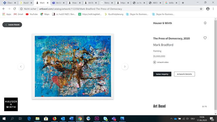 Wurde in den ersten Stunden verkauft: «The Press of Democracy» von Mark Bradford für fünf Millionen Dollar bei Hauser & Wirth: