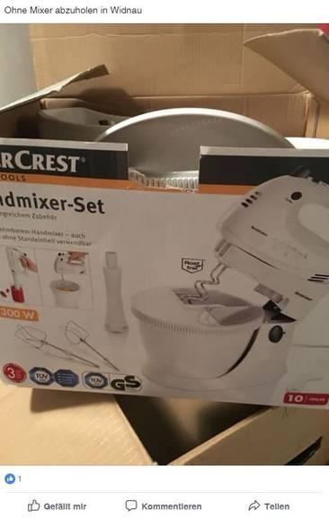 Ein tolles Gerät. Wenn der Mixer dabei wäre (Bild: Printscreen Facebook)