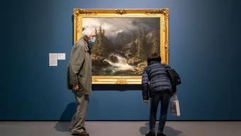 """""""Die Aare an der Handeck"""" von Francois Diday ist in der Ausstellung """"Im Herzen wild. Die Romantik in der Schweiz"""" im Kunsthaus in Zürich zu sehen. Es ist ein Beispiel dafür, dass Künstler der Romantik ihre Motive in der wilden und bedrohlichen Bergwelt der Schweiz suchten."""