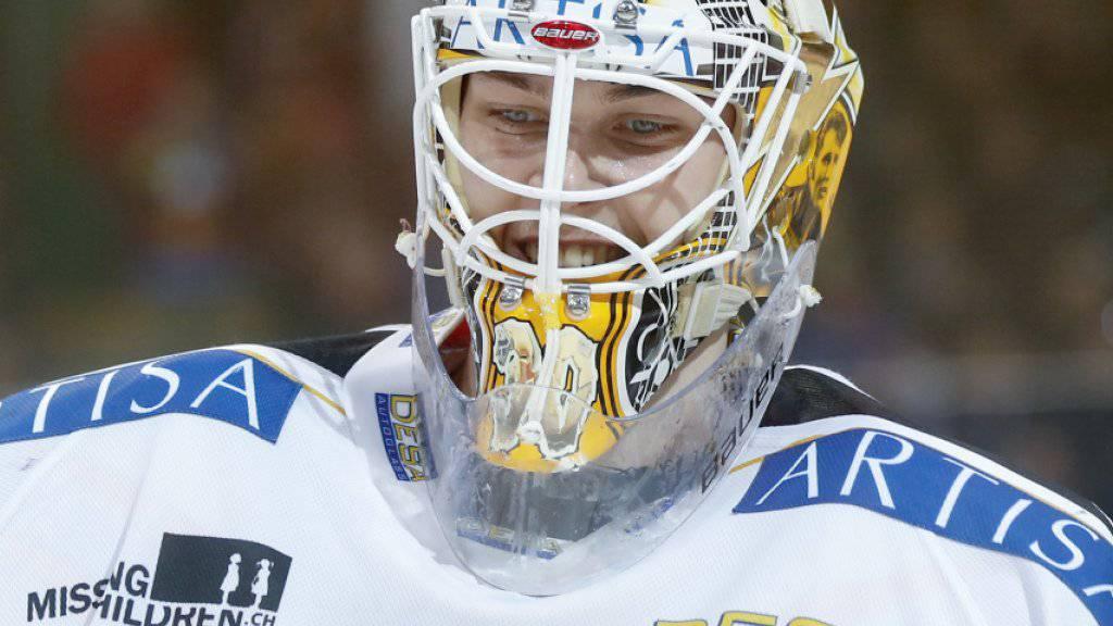Luganos Goalie Elvis Merzlikins hat gut Grinsen: Auch Bern biss sich an ihm die Zähne aus