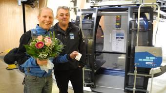 Martin Frey aus Oftringen (links) und Konrad Stuber, Geschäftsführer der Seilbahn Weissenstein AG.