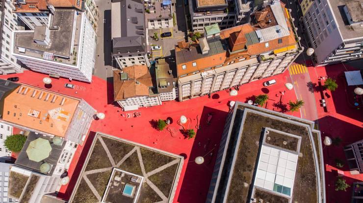 Der «Rote Platz» von Künstlerin Pippilotti Rist im St. Galler Bleicheli.
