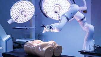In der Wirbelsäule sind Gewebeentnahmen besonders heikel – der Roboter übt am Modell eines Rückens.