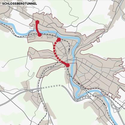 Mit der Grundvariante Schlossbergtunnel würde der Verkehr direkt der Neuenhoferstrasse zugeführt. Möglich wäre auch hier gemäss einer Untervariante die Spange zur Umfahrung von Nussbaumen. Ebenfalls sehen weitere Untervarianten Massnahmen zur Bevorzugung des Busses bei der Hochbrücke vor oder deren Sperrung für den MIV, der weiter südlich eine Brücke über die Limmat zur Neuenhoferstrasse erhalten würde.
